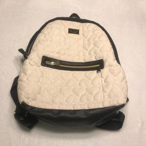 Betsey Johnson White and Black Quilted Backpack